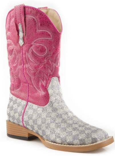 Roper Bling Square Toe Check Boot - Kids, Grey/Pink