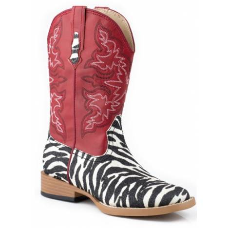 Roper Bling Square Toe Faux Leather Boots - Kids, Red/Zebra