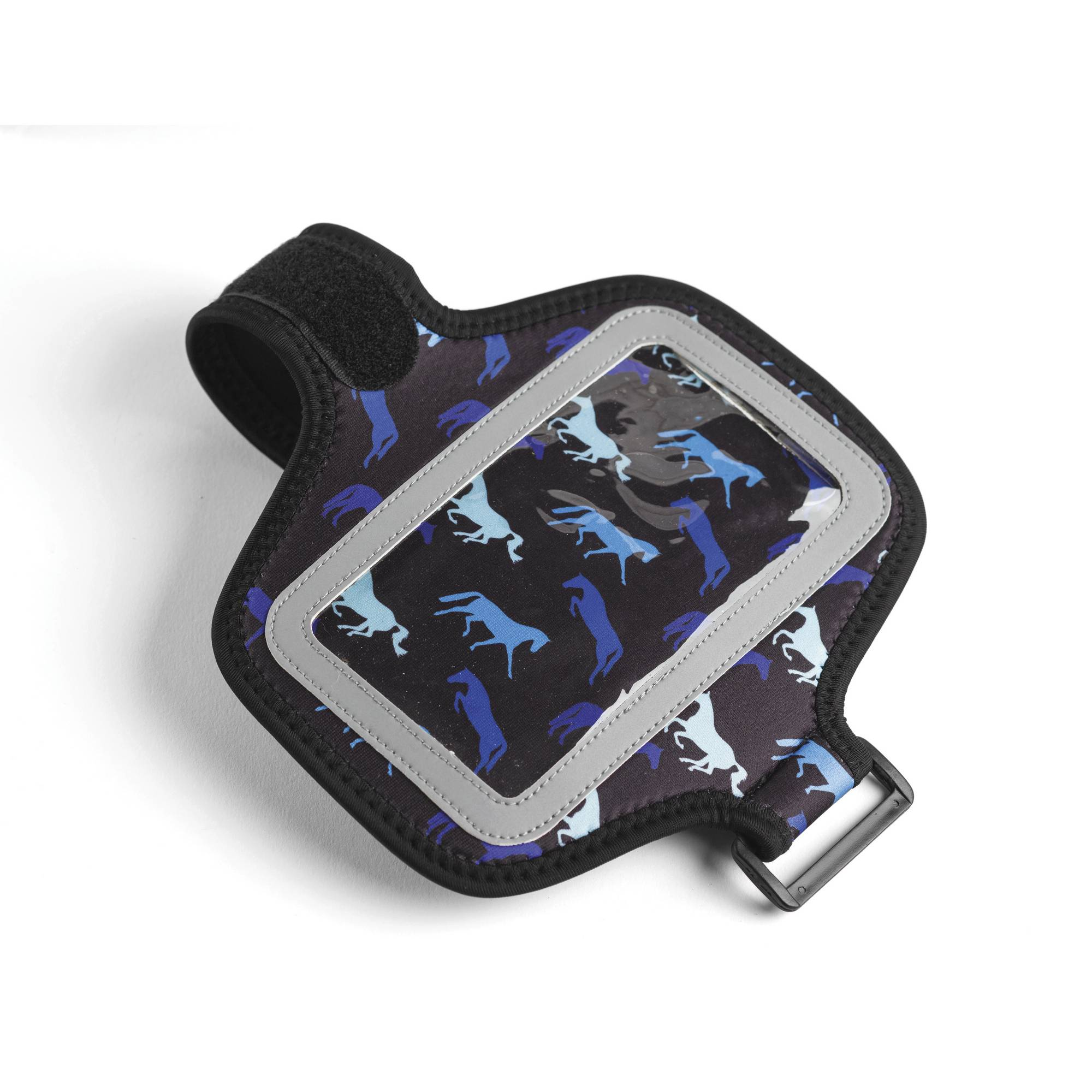 Kelley Neoprene Smartphone Case with Arm/Leg Band - Black with Shades of Blue Horses