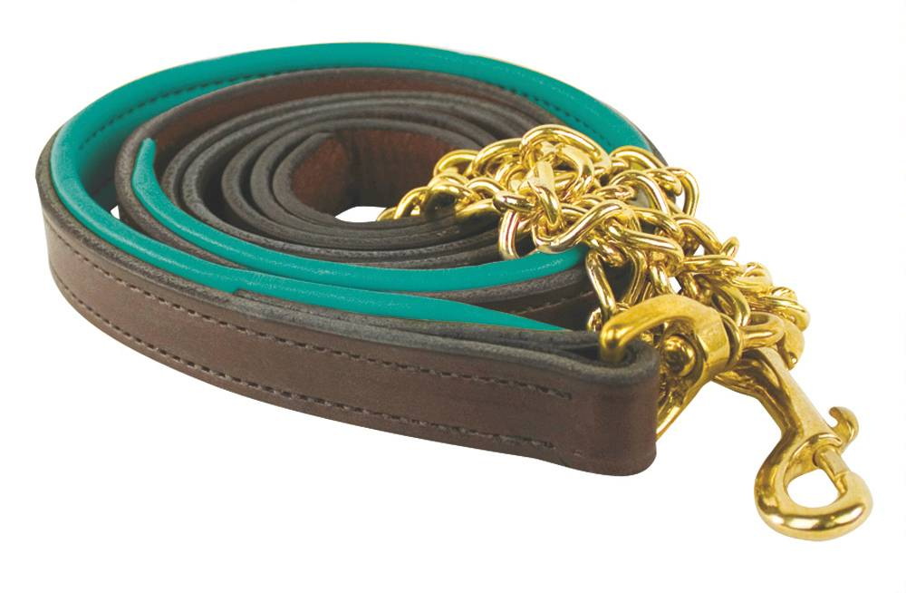 Perris Padded Leather Lead with Brass Chain