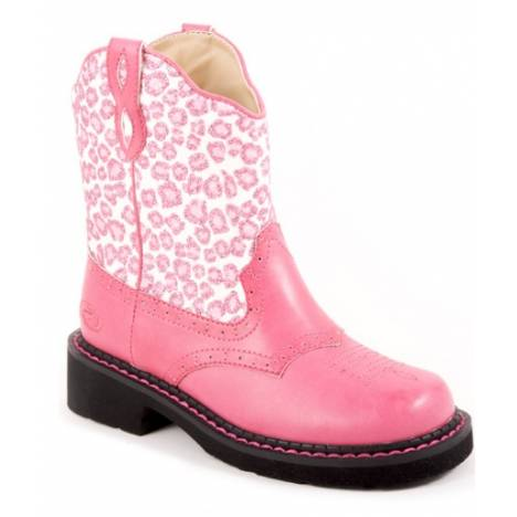 Roper Faux Leather Glitter Print Boots - Girls, Pink