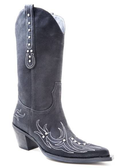 Roper Faux Leather Boots - Ladies, Black with Crystals