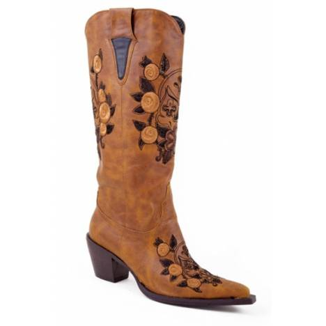 Roper Faux Leather Boots - Ladies, Tan/Embroidered