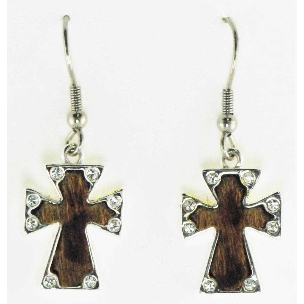 Western Edge Jewelry Hair-On Cross Earrings