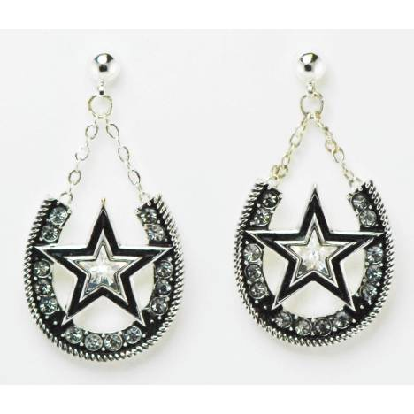 Western Edge Jewelry Dangle Horseshoe Star Earrings