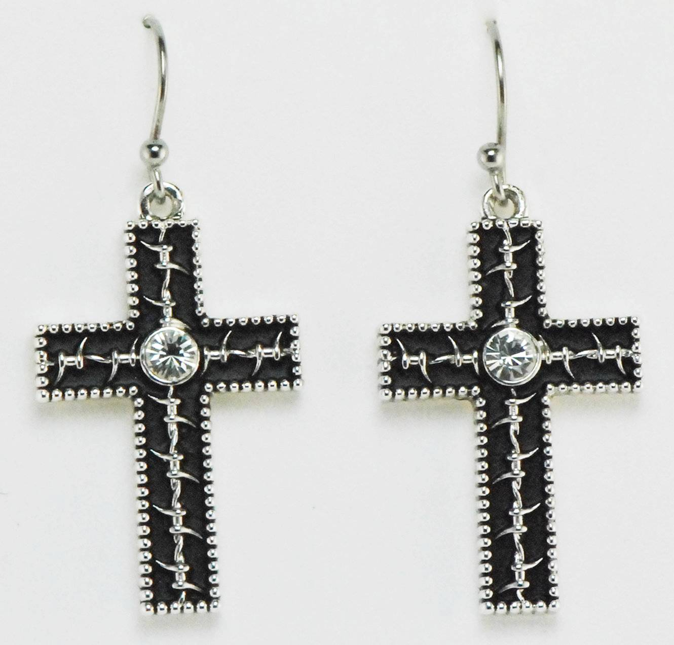 Western Edge Jewelry Barb Wire Cross Earrings