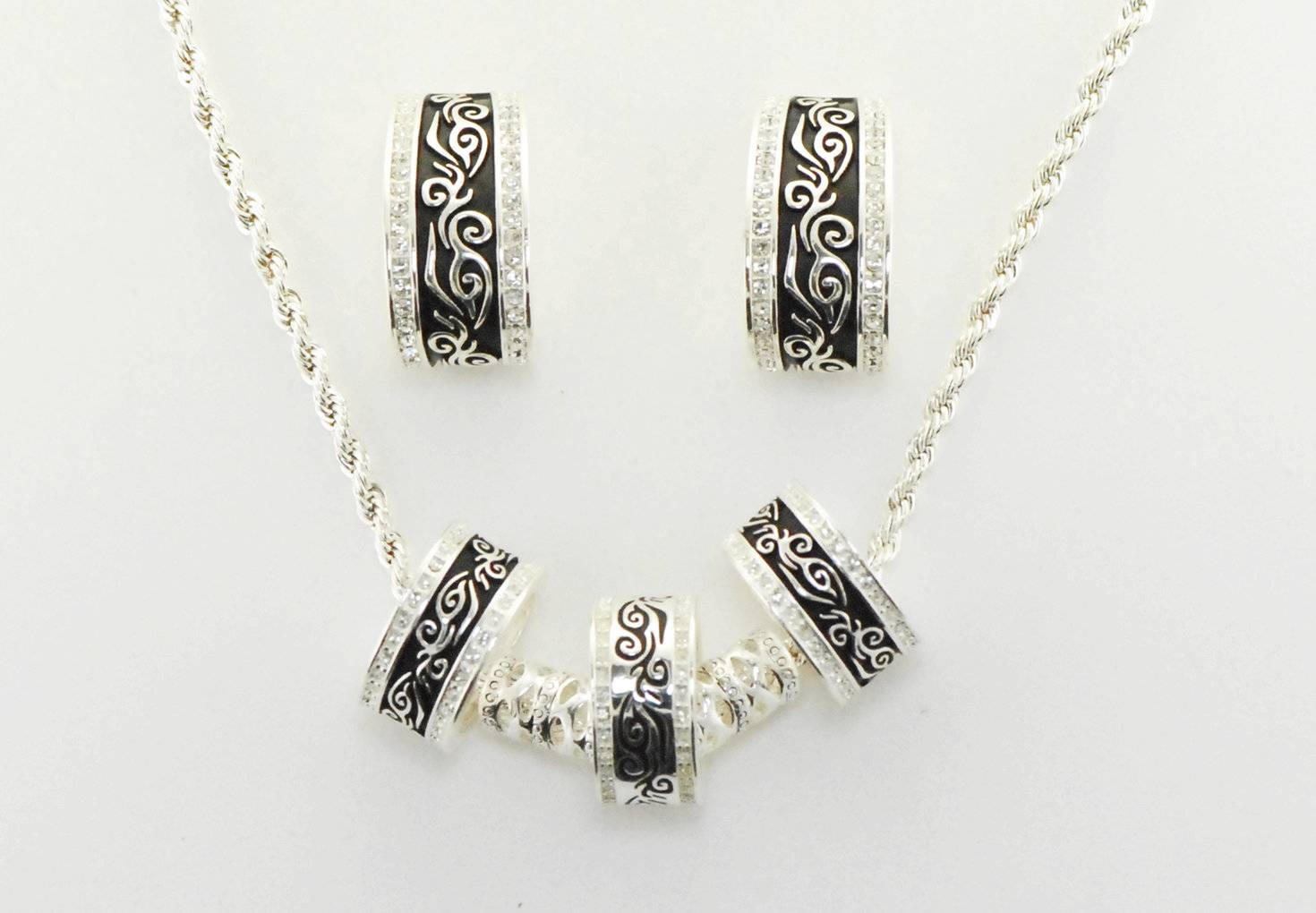 Western Edge Jewelry 3 Ring Filigree Crystal Jewelry Set