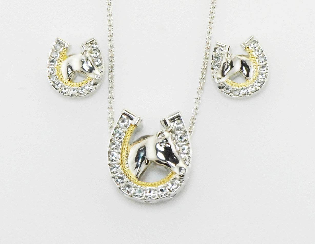 Western Edge Jewelry Horseshoe Horsehead Jewelry Set
