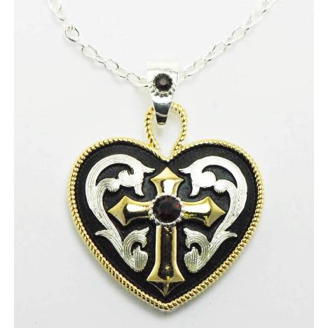 Western Edge Jewelry Western Heart And Cross Necklace.