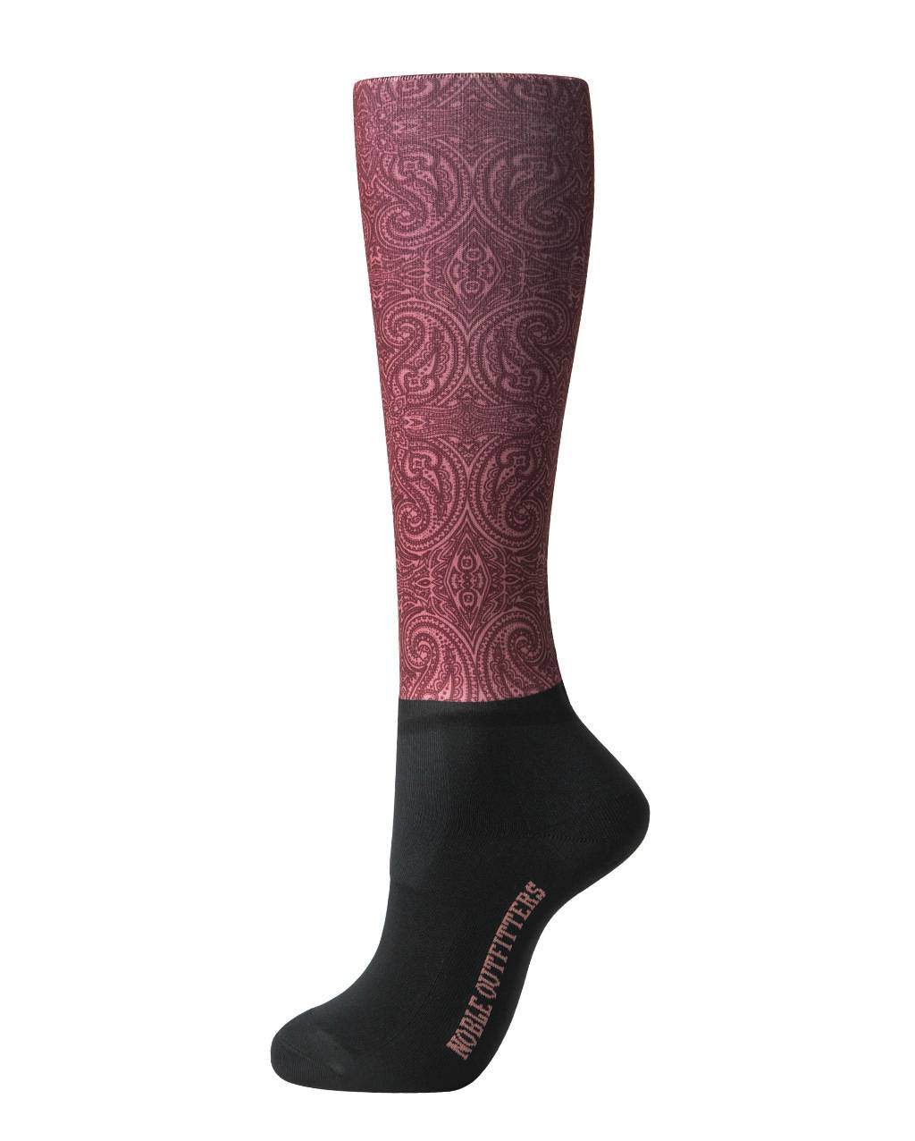 Noble Outfitters Ladies Over the Calf Peddies - Wine Paisley