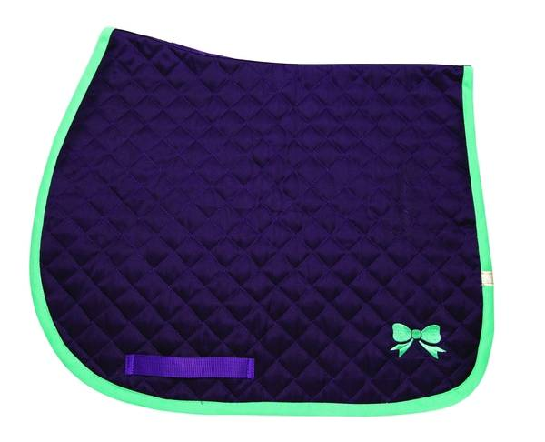 Lettia Embroidered Baby Pad - Purple with Seafoam Bows