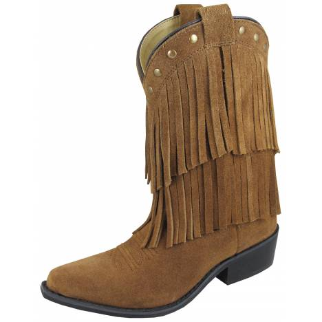 Smoky Mountain Childs Wisteria Double Fringe Leather Boots - Brown