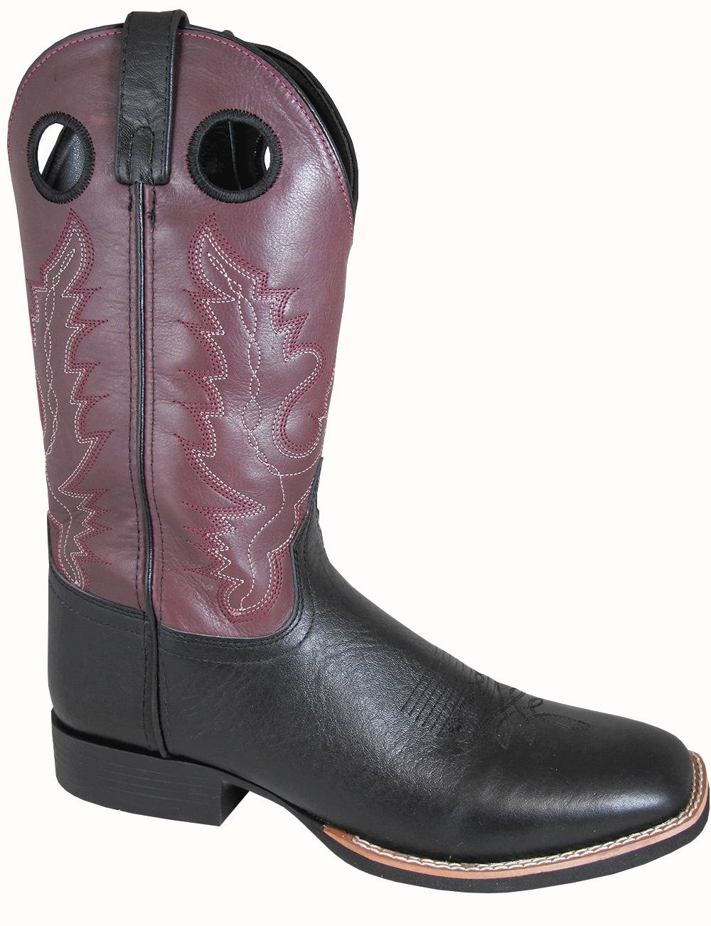 Smoky Mountain Mens Marshall Leather Square Toe Boots - Black/Plum