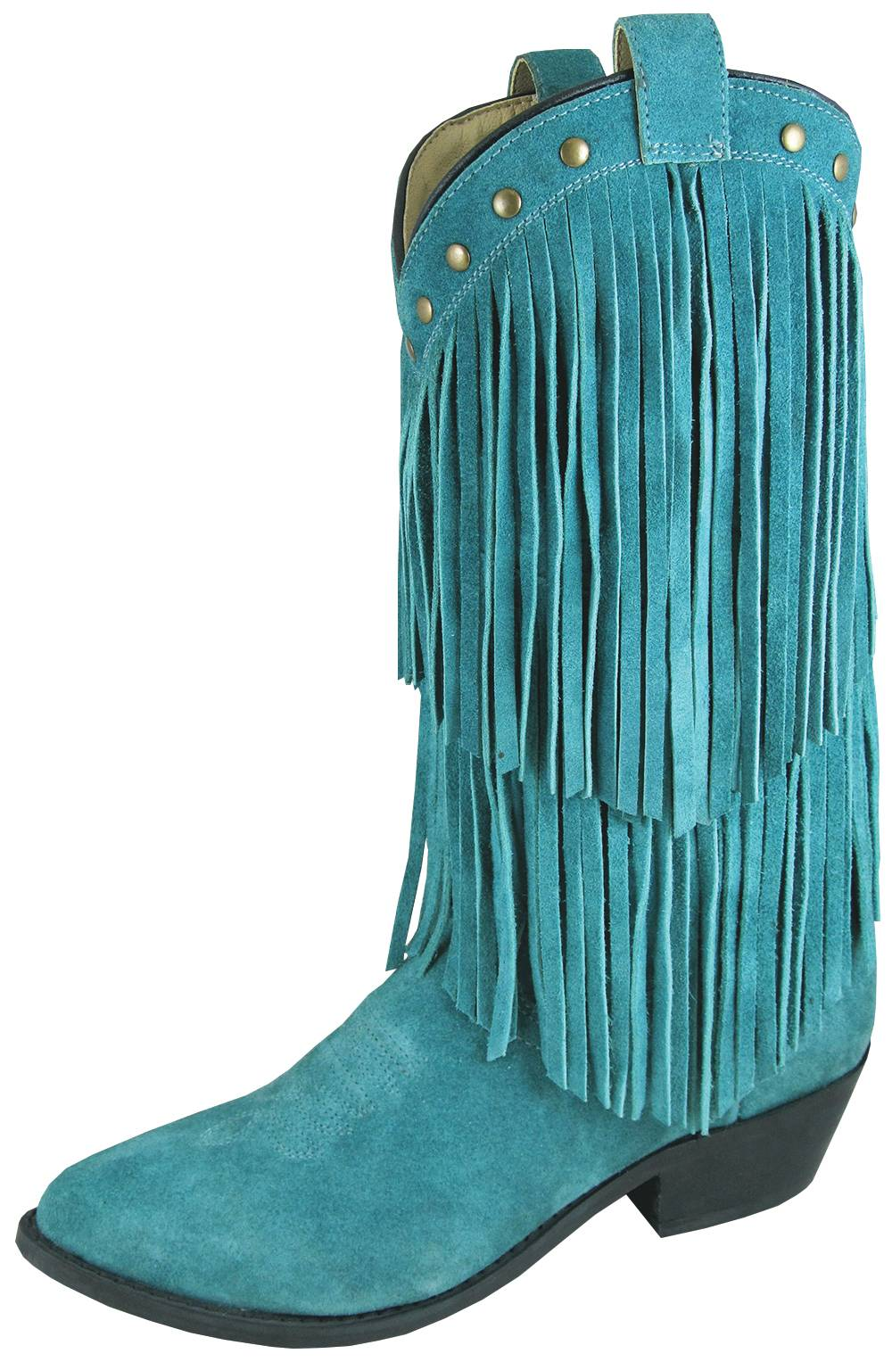 Smoky Mountain Womens Wisteria Double Fringe Leather Boots -Teal