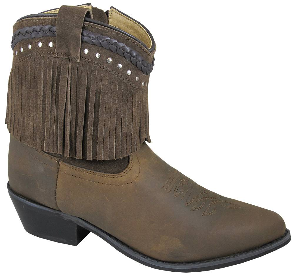 Smoky Mountain Womens Torrance Leather 7'' Fringe Boots -Brown