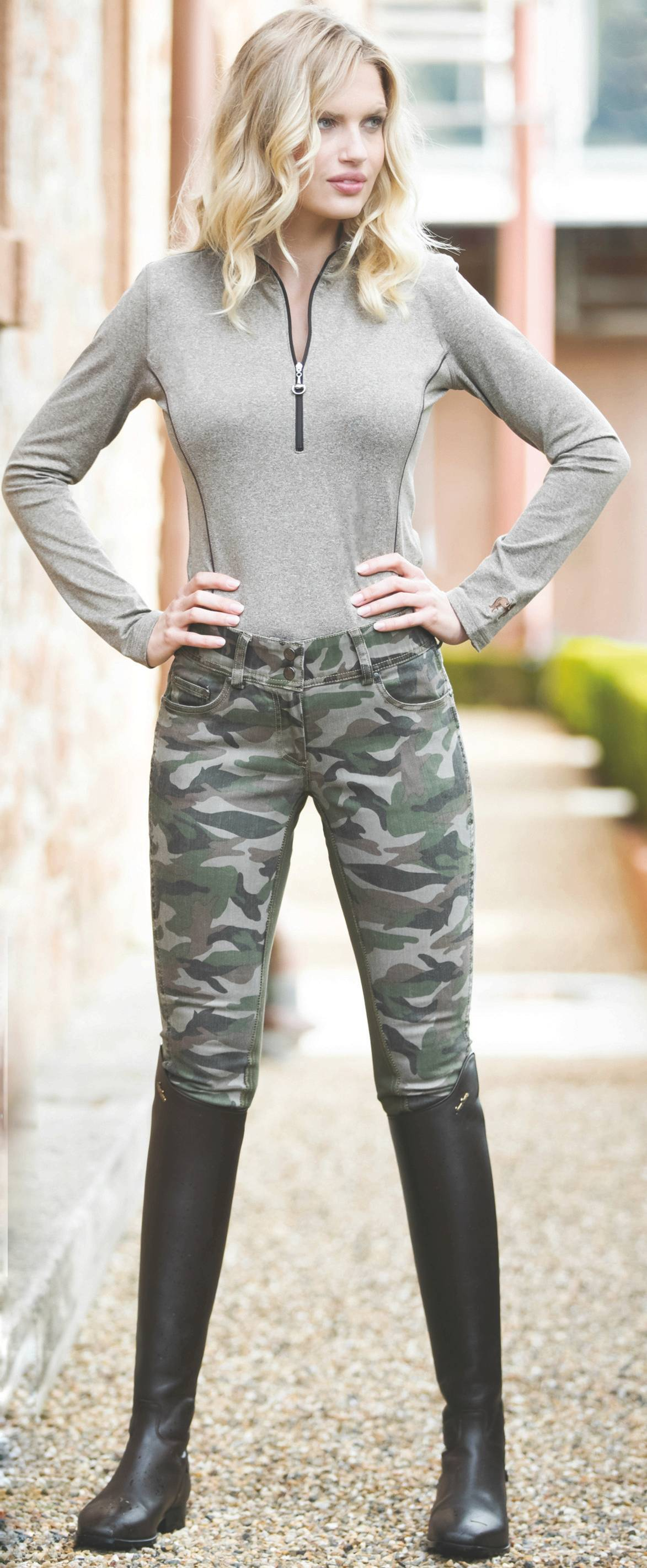 Goode Rider Ladies Jean Rider Full Seat Breeches - Camouflage