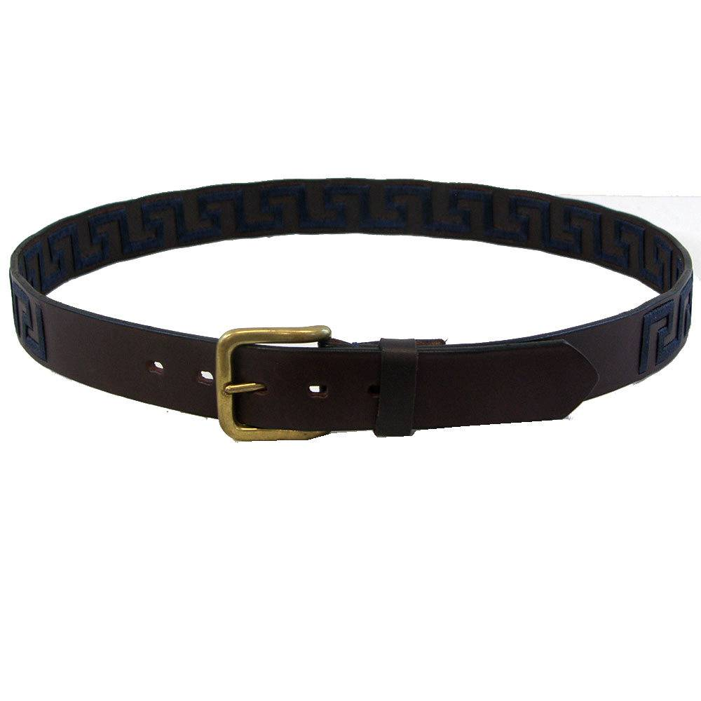 WOW Greek Key Brown Leather Belt -Navy Key