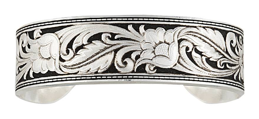 Montana Silversmiths Leather Cut Floral Cuff Bracelet
