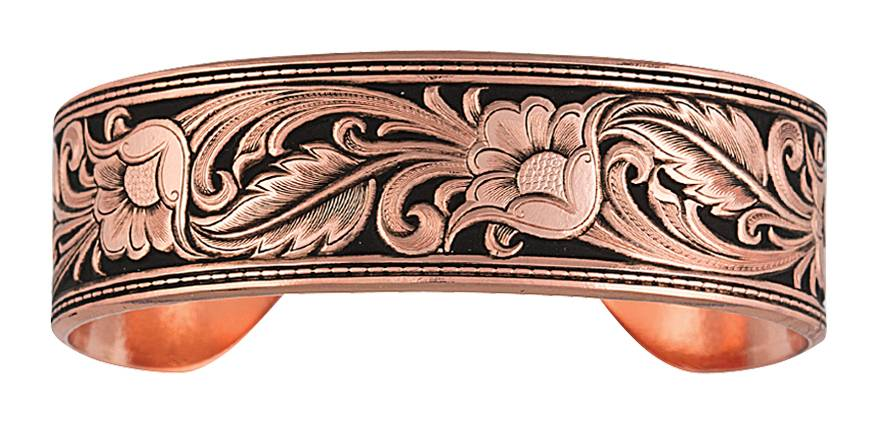 Montana Silversmiths Burnished LeatherCut Floral Cuff Bracelet