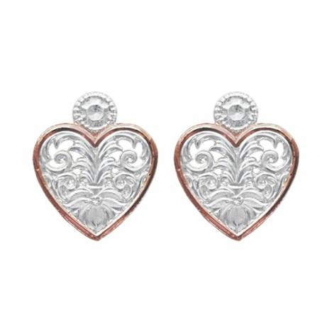 Montana Silversmiths Western Lace Copper Trimmed Classic Heart Earrings