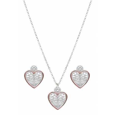 Montana Silversmiths Western Lace Copper Trimmed Classic Heart Jewelry Set