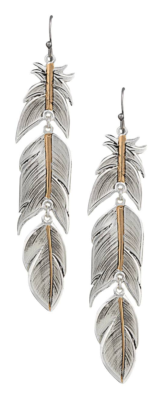 Montana Silversmiths Heirloom Gold Plume Feather Earrings