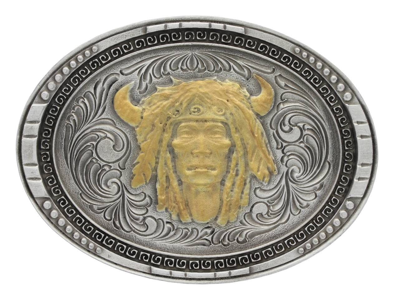 Montana Silversmiths Antiqued Oval Chieftain's Head Attitude Buckle