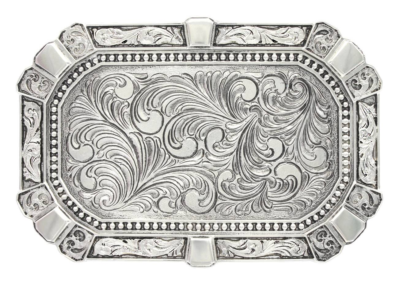 Montana Silversmiths Heritage Rounded Rectangular Feathered Attitude Buckle