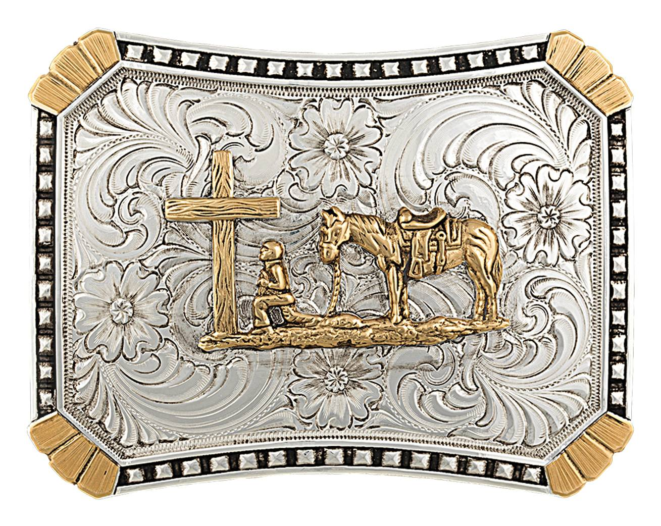 Montana Silversmiths Heirloom Gold Curved Rectangle Buckle with Christian Cowboy