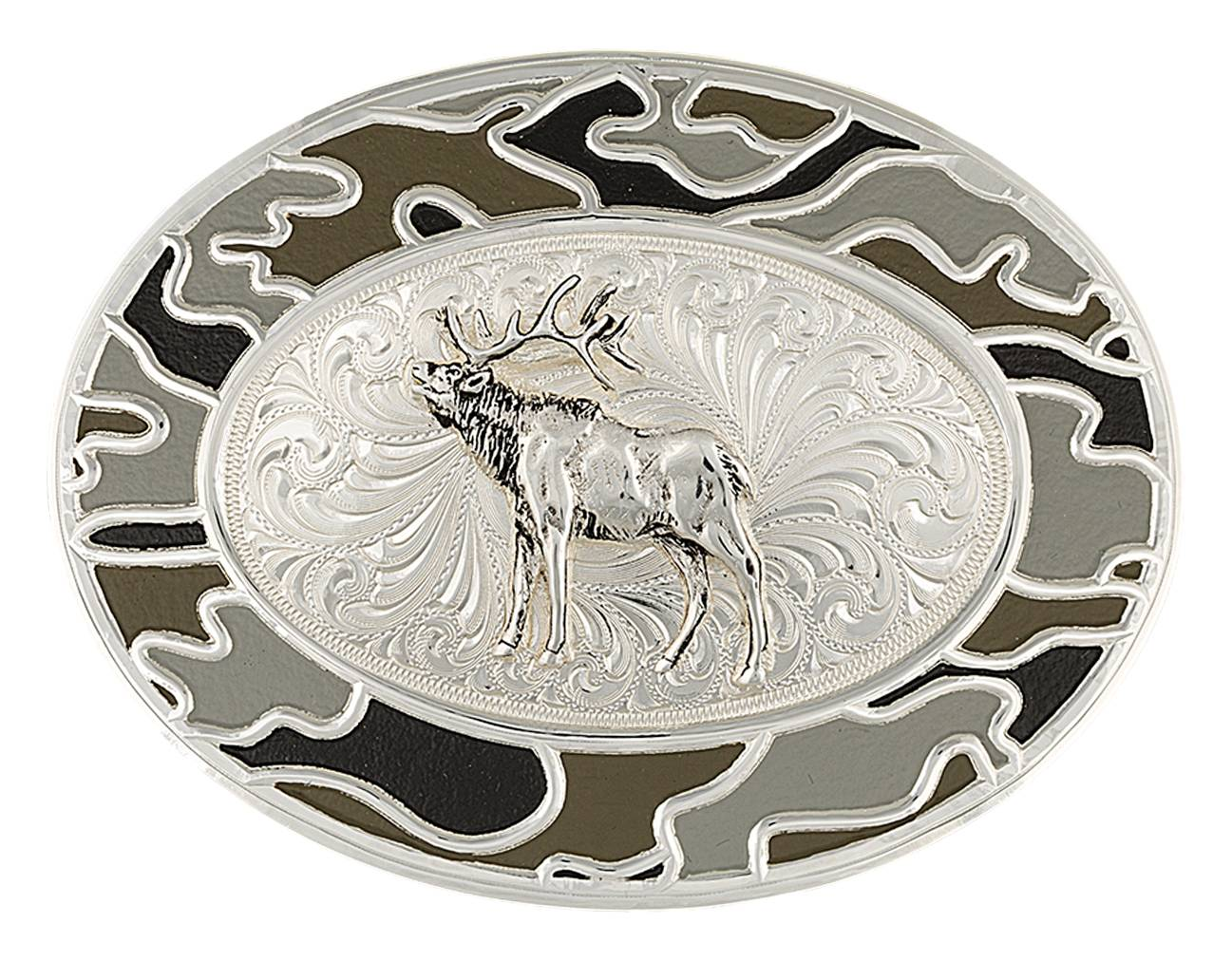 Montana Silversmiths Oval Silver and Winter Camo Buckle with Silver Elk