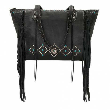 AMERICAN WEST Canyon Creek Zip-Top Fringe Tote - Black