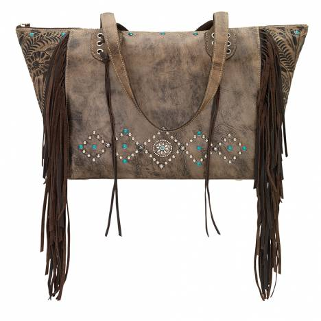 AMERICAN WEST Canyon Creek Zip-Top Fringe Tote - Chocolate