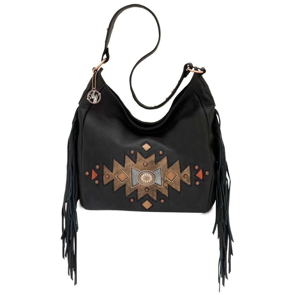 AMERICAN WEST Dream Catcher Slouch Zip Top Shoulder Bag - Black