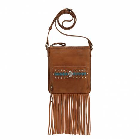 AMERICAN WEST Moon Dancer Crossbody Bag/Wallet - Tan/Blue