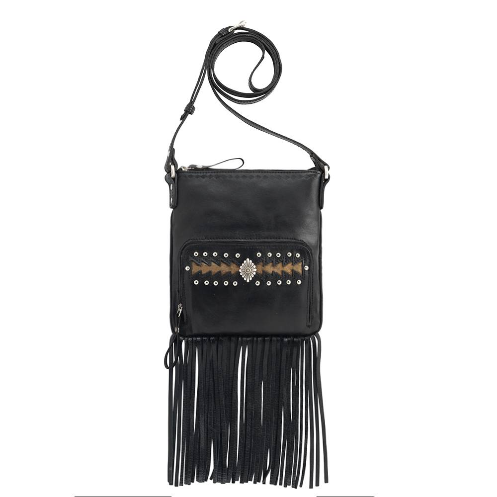 AMERICAN WEST Moon Dancer Crossbody Bag/Wallet - Black/Brown