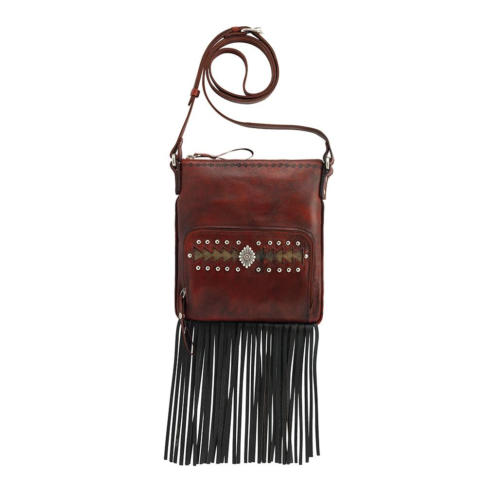 AMERICAN WEST Moon Dancer Crossbody Bag/Wallet - Red/Brown