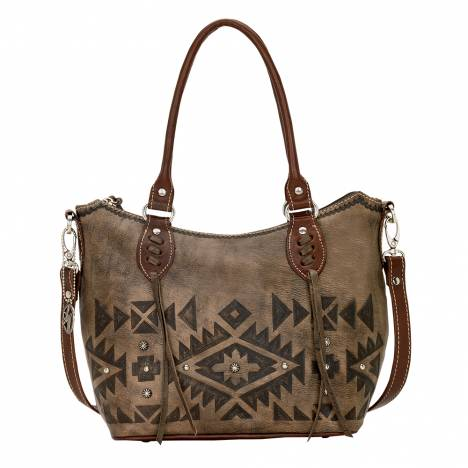 AMERICAN WEST Mystic Shadow Convertible Zip Top Bucket Tote - Charcoal Brown