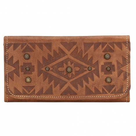 AMERICAN WEST Mystic Shadow Tri-Fold Wallet - Tan