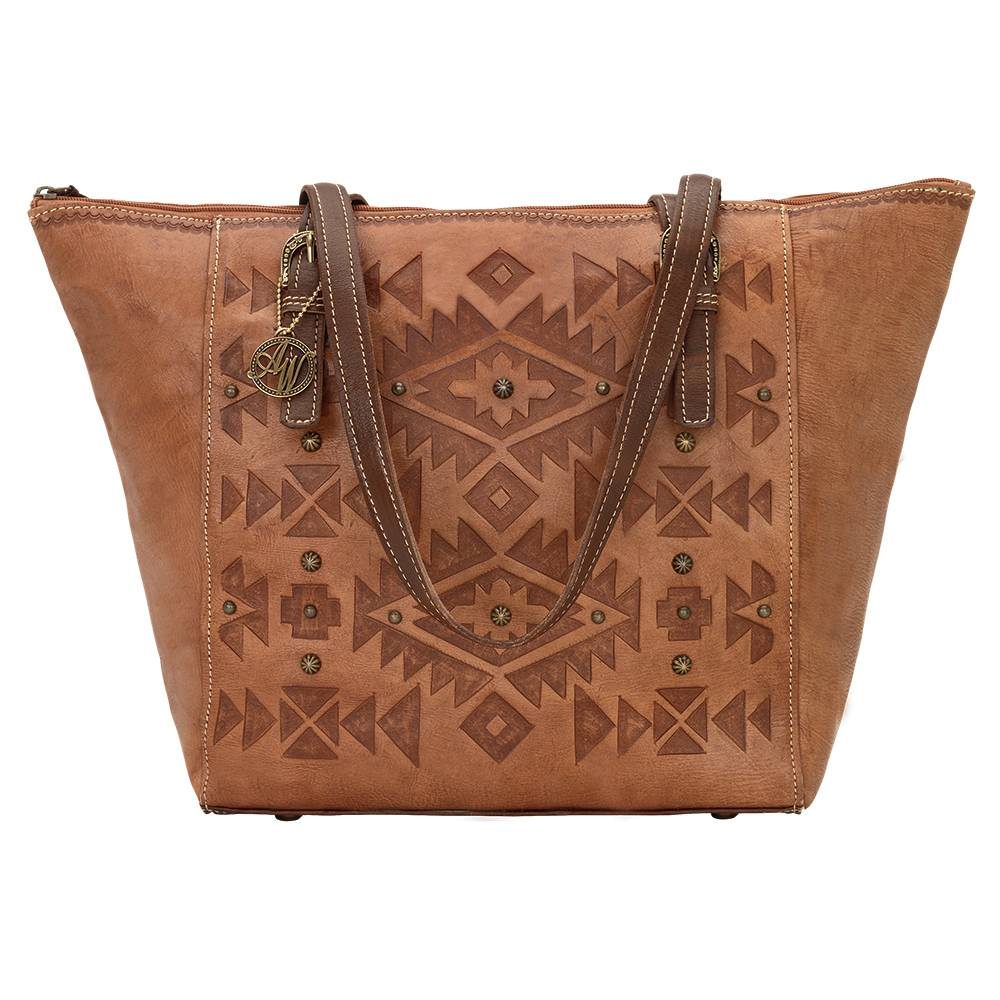 AMERICAN WEST Mystic Shadow Zip Top Bucket Tote - Tan