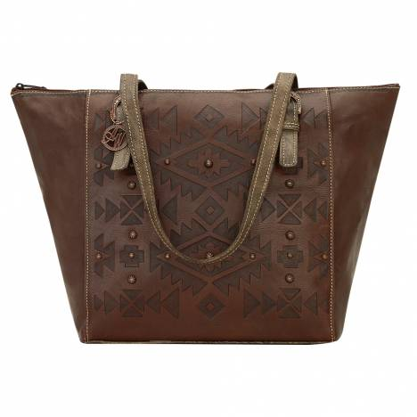 AMERICAN WEST Mystic Shadow Zip Top Bucket Tote - Chestnut Brown