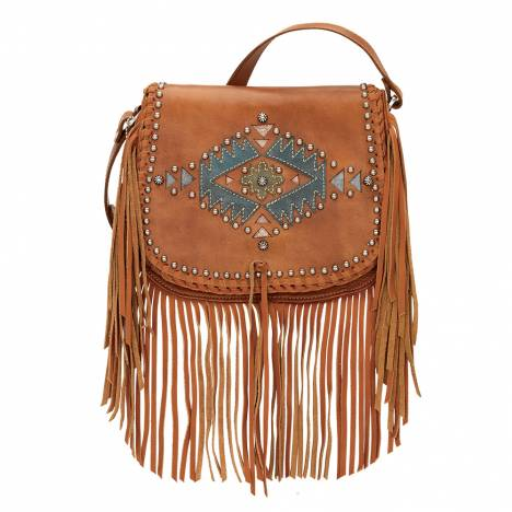 AMERICAN WEST Pueblo Moon Fringe Crossbody Flap Bag - Tan