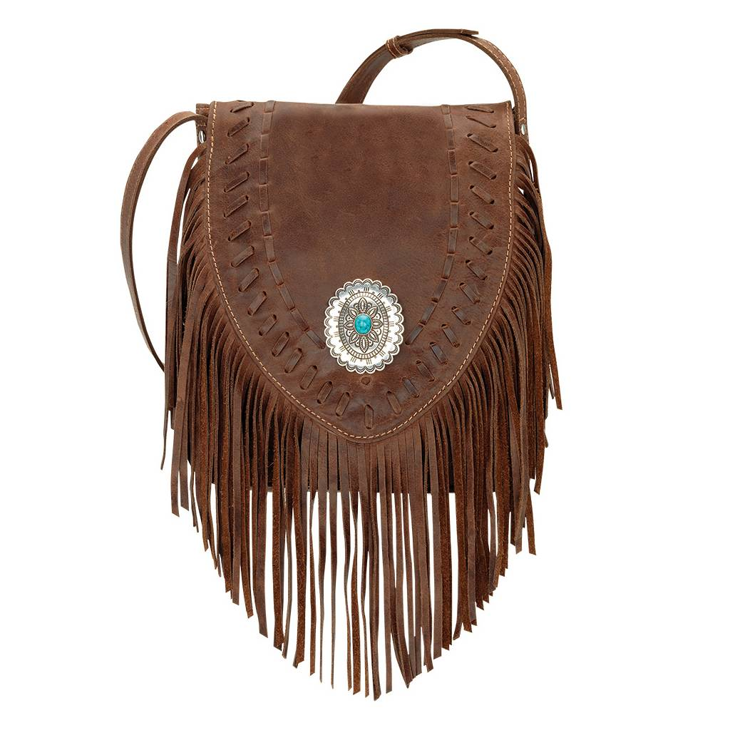 AMERICAN WEST Seminole Soft Crossbody Fringe Bag - Tobacco