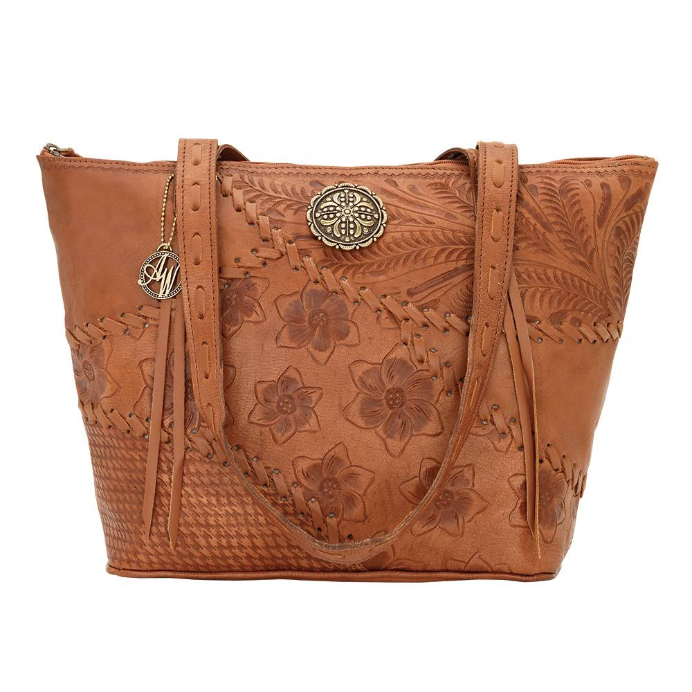 AMERICAN WEST Soho Groove Zip Top Bucket Tote - Tan