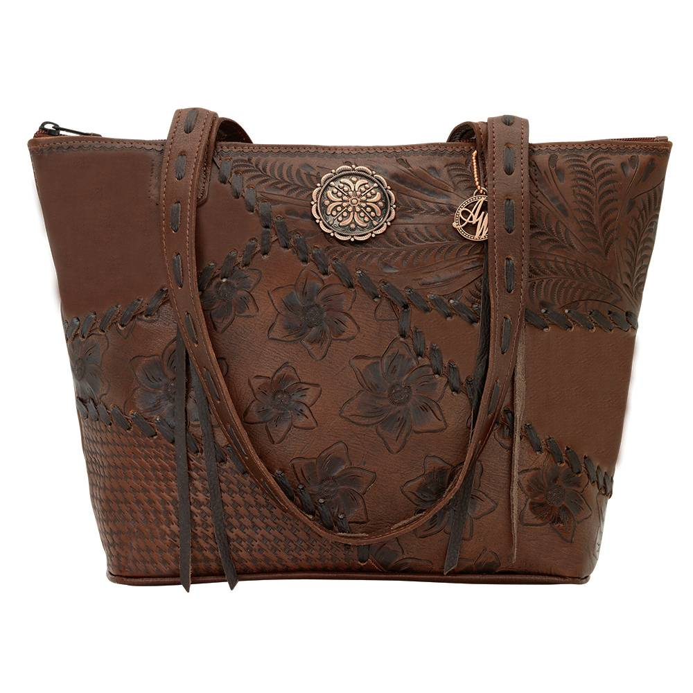 AMERICAN WEST Soho Groove Zip Top Bucket Tote - Brown