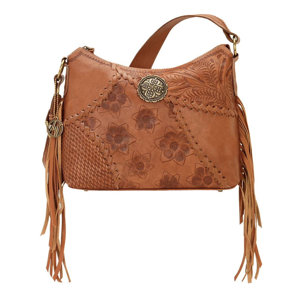 AMERICAN WEST Soho Groove Zip Top Shoulder Bag - Tan
