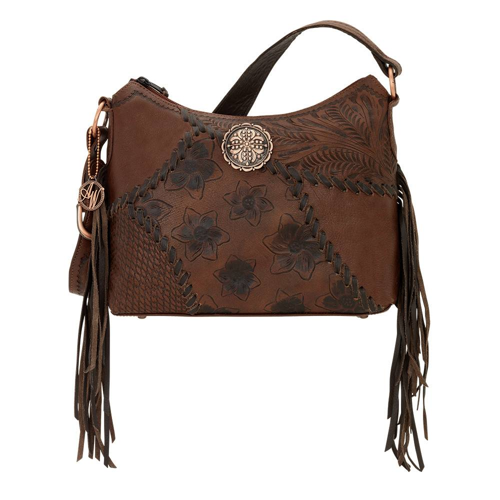 AMERICAN WEST Soho Groove Zip Top Shoulder Bag - Brown
