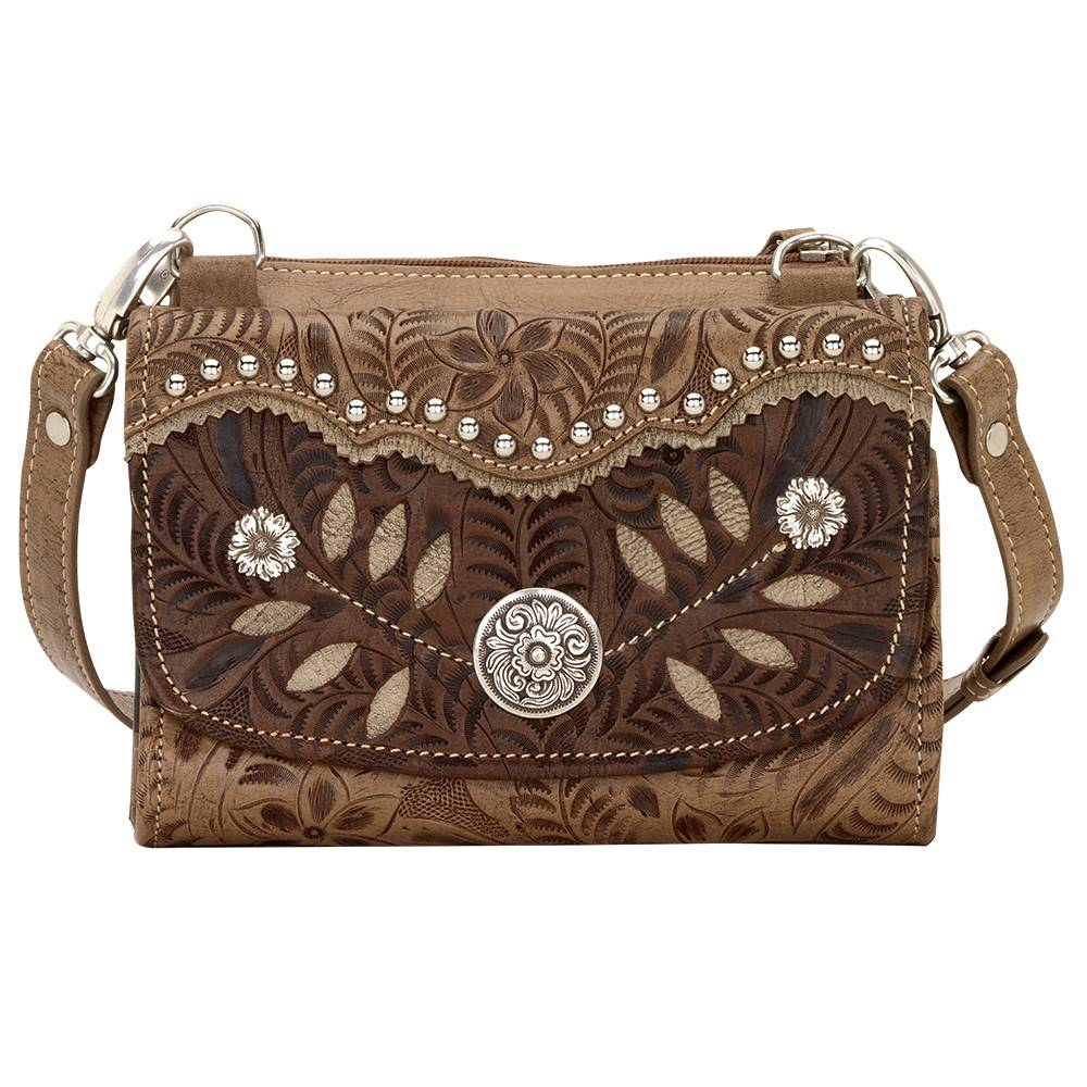 AMERICAN WEST Woodland Bloom Small Crossbody Bag/Wallet - Tan