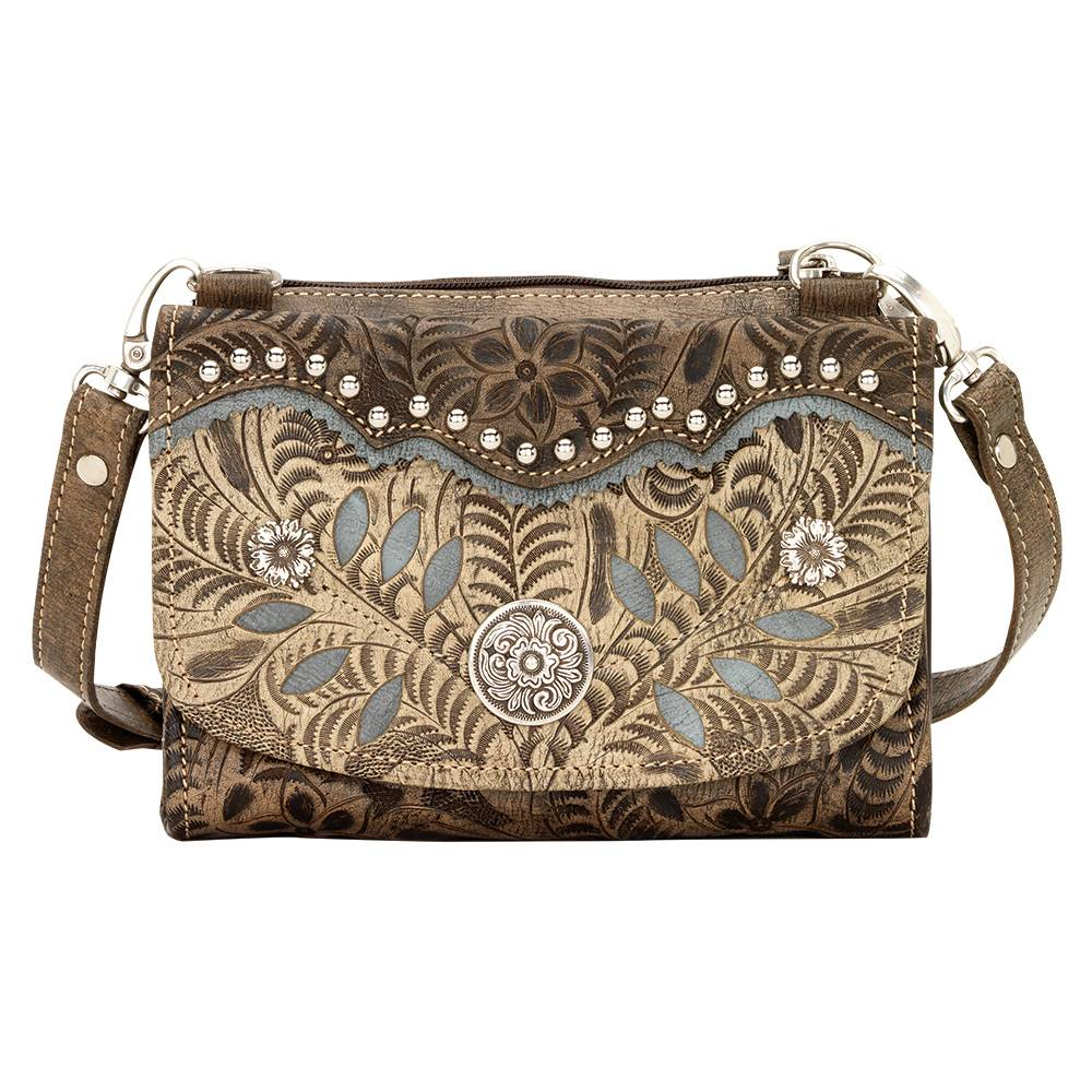 AMERICAN WEST Woodland Bloom Small Crossbody Bag/Wallet - Charcoal Brown