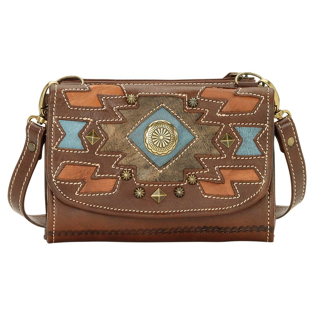 AMERICAN WEST Zuni Passage Small Crossbody Bag/Wallet - Brown