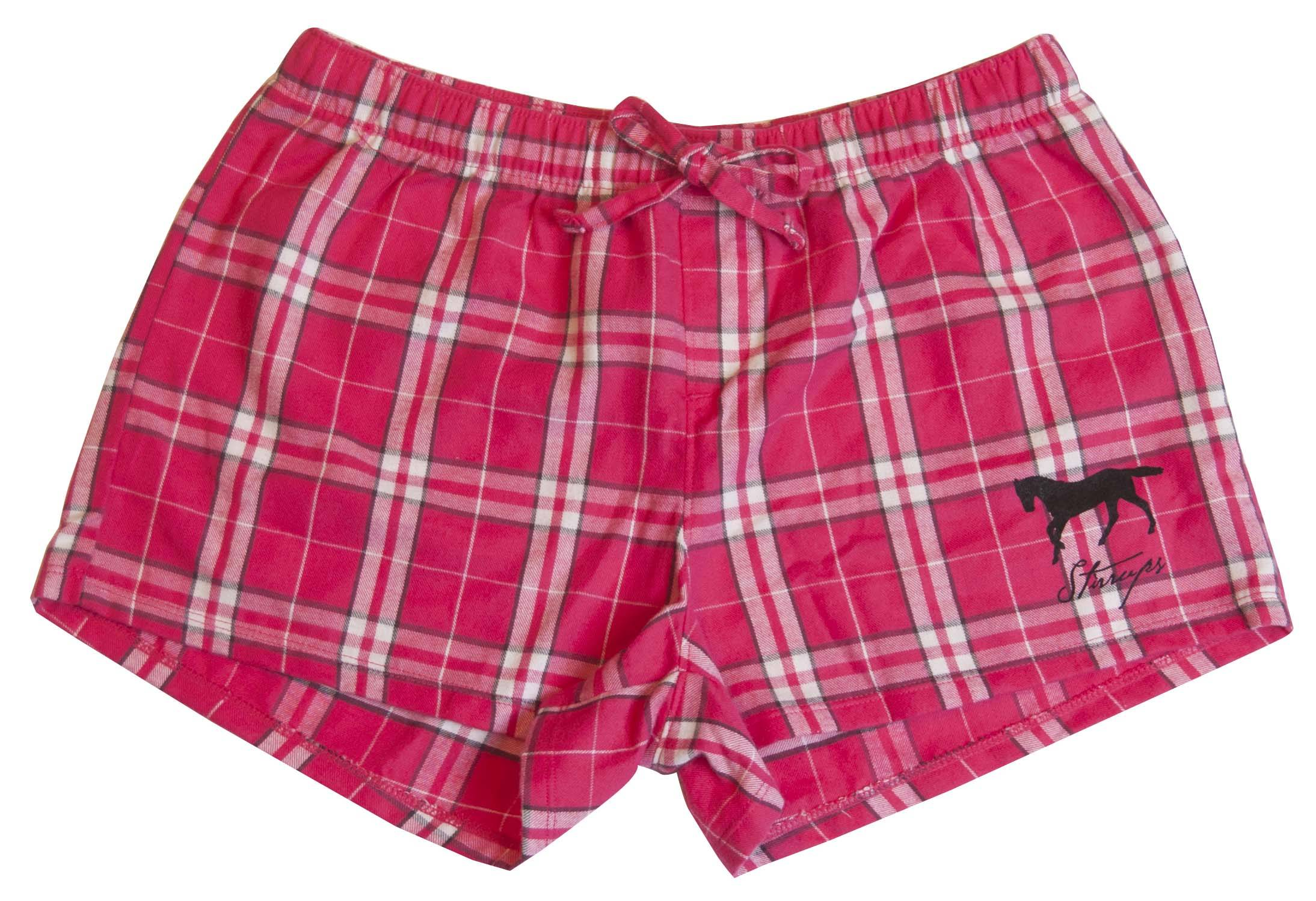 Stirrups Juniors Running Horse Combed Cotton Flannel Plaid Shorts